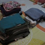 Yup, this is all the clothes we have on the trip- for both of us. So why the heck are our bags so heavy?!