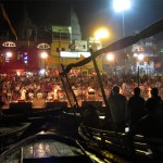 Nighttime ceremony along the banks of the Ganges