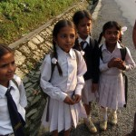 Schoolgirls guiding us to Naudanda