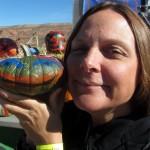 Karen enjoys a decorative pumpkin...