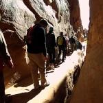 ... and hiking along ledges