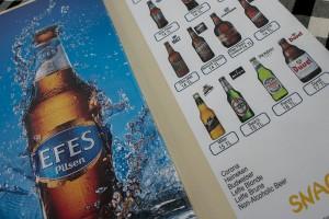 Efes beer menu