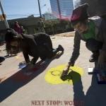Amazing chalk artists decorate the sidewalk